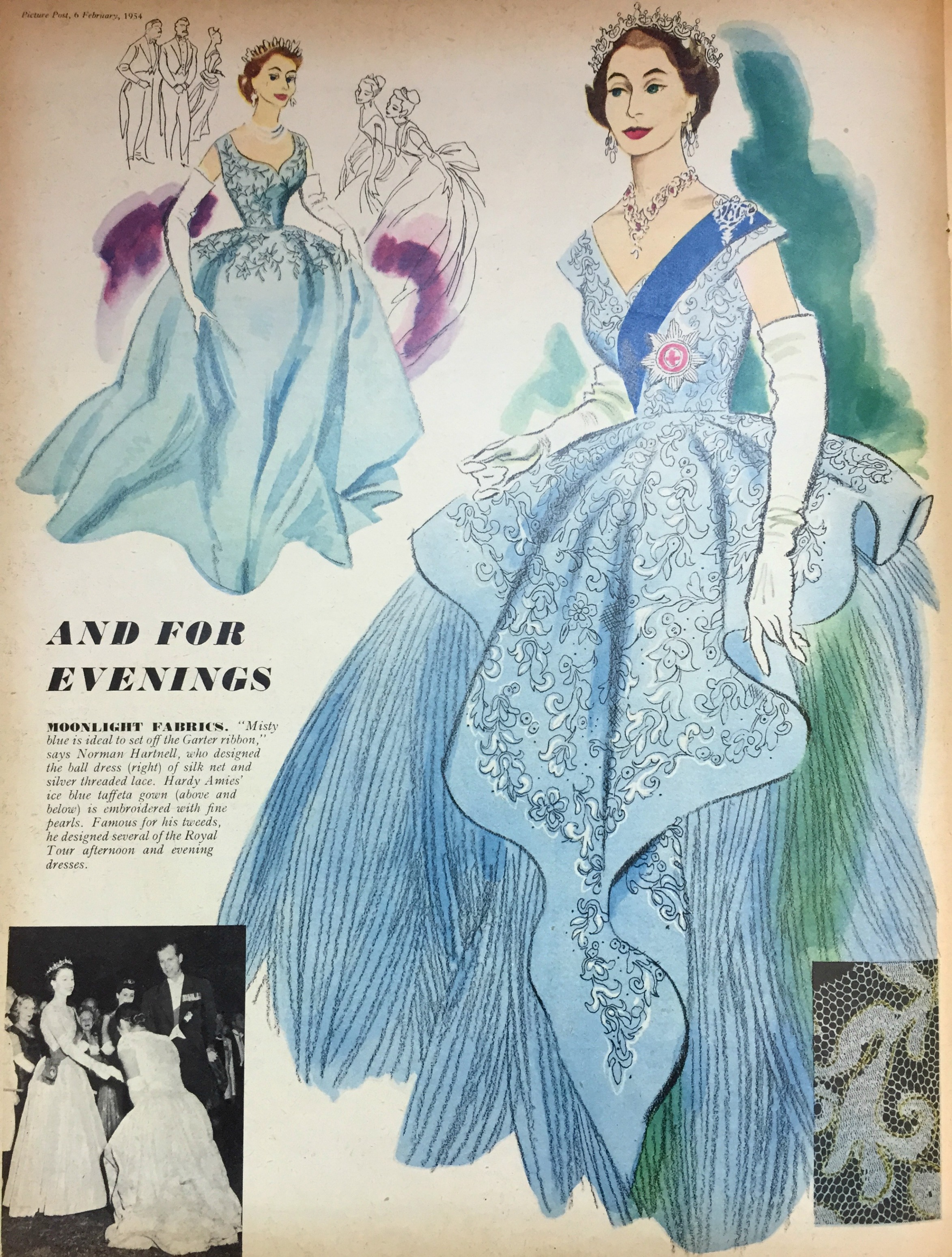 The Queen Evening fashion 1954