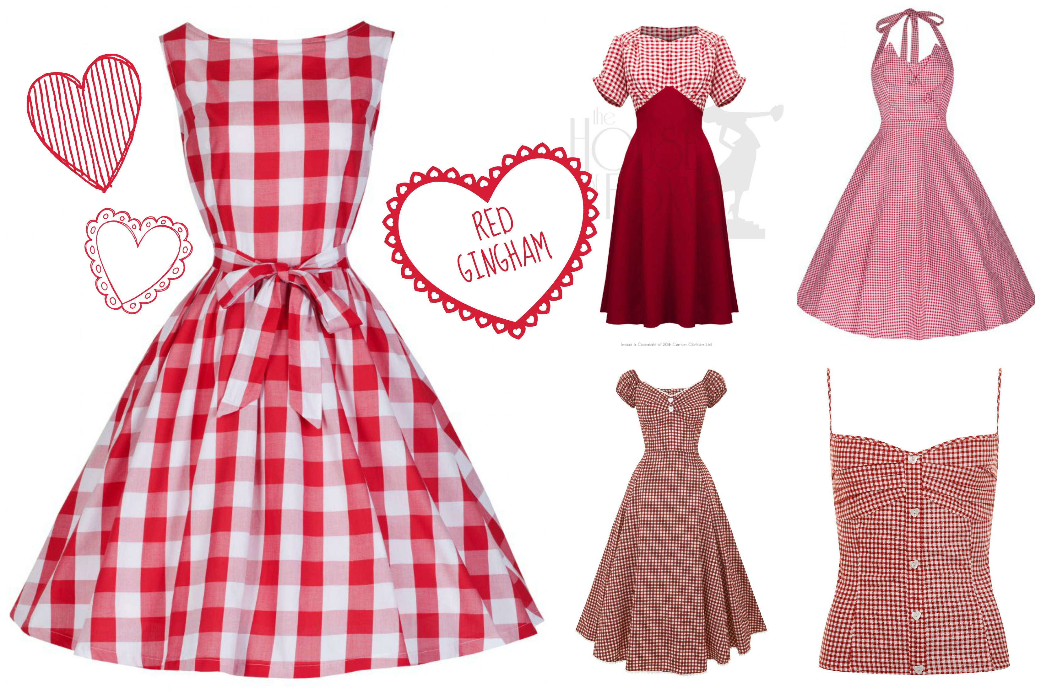 Red Gingham Vintage Style Dresses