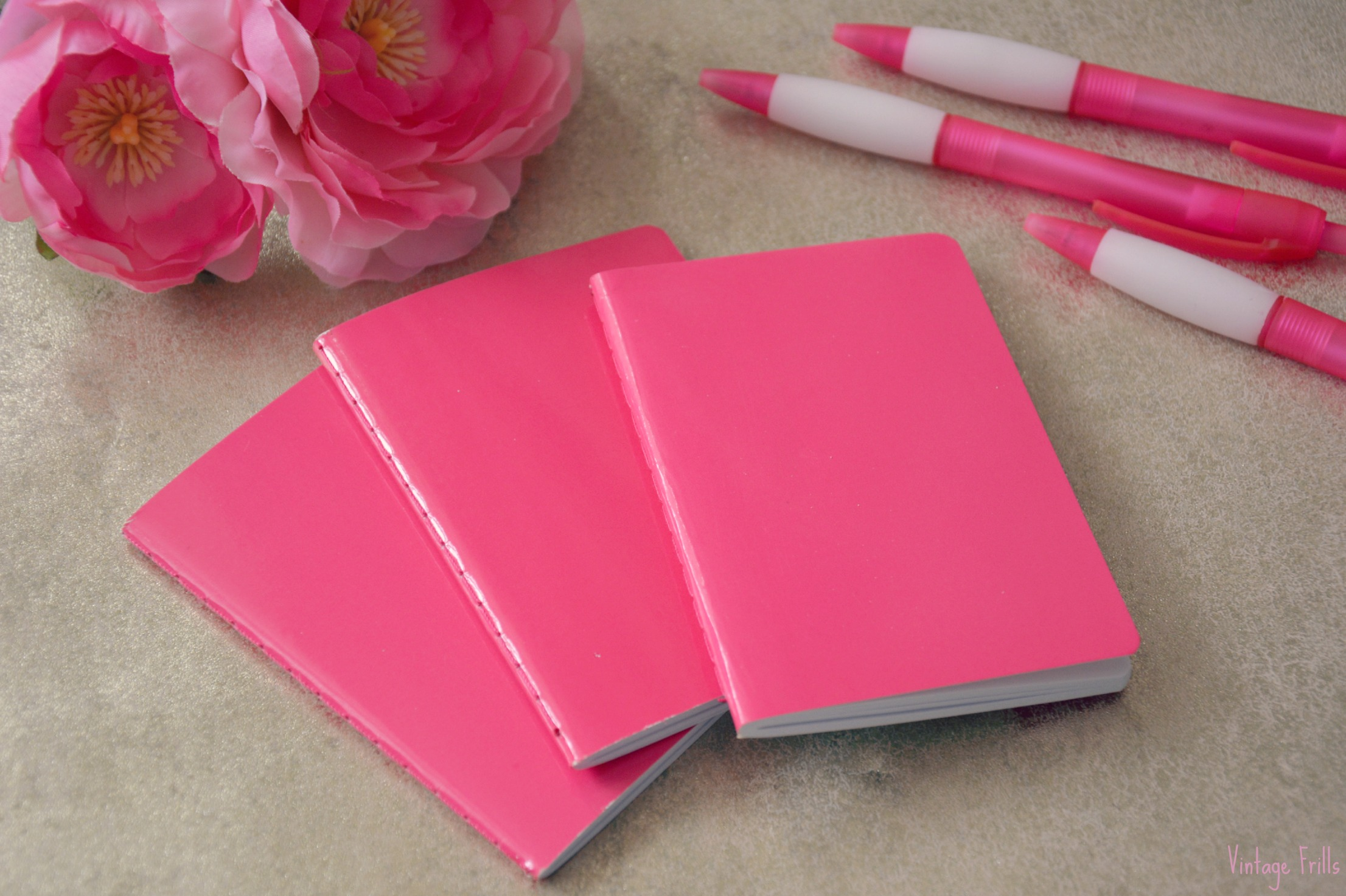 Wilkos Pink Pens and Notebooks