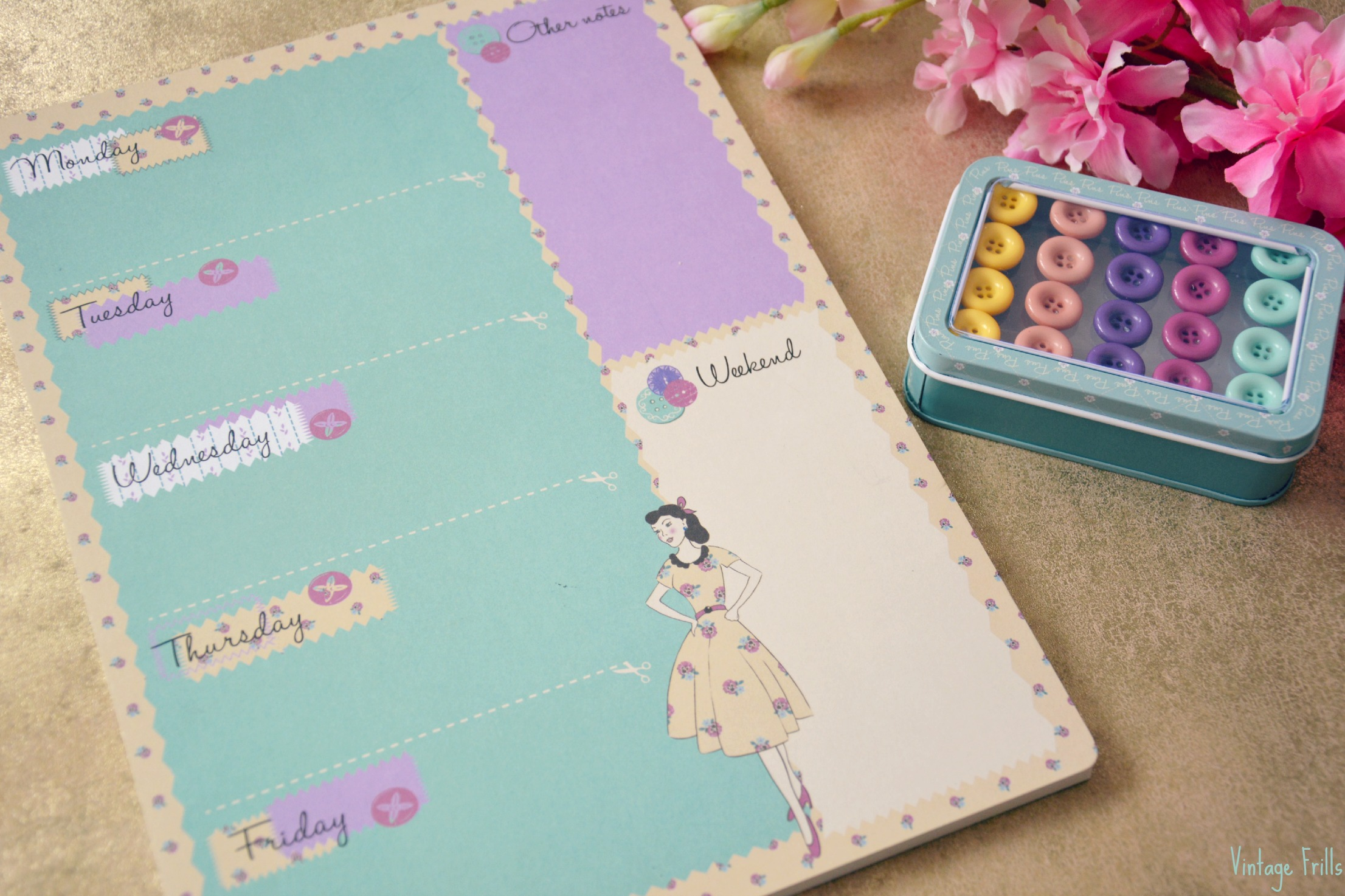 Wilkos Vintage Weekly Planner and Button Pins