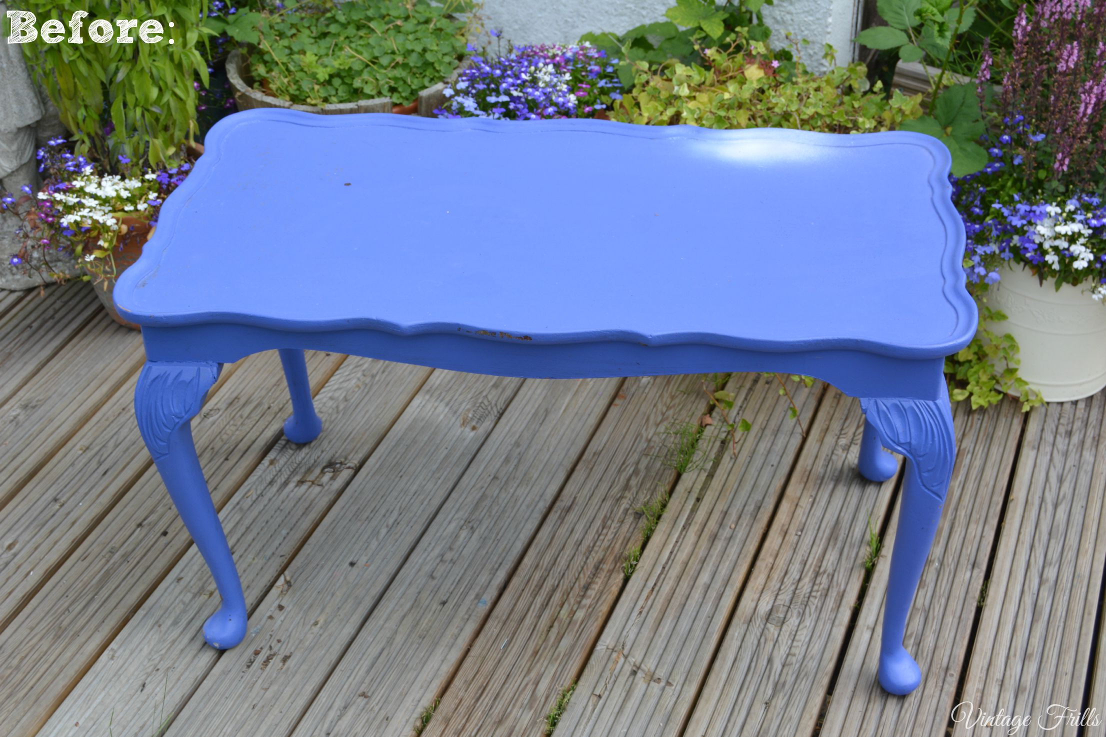 Blue Coffee Table Upcycle  Vintage Frills