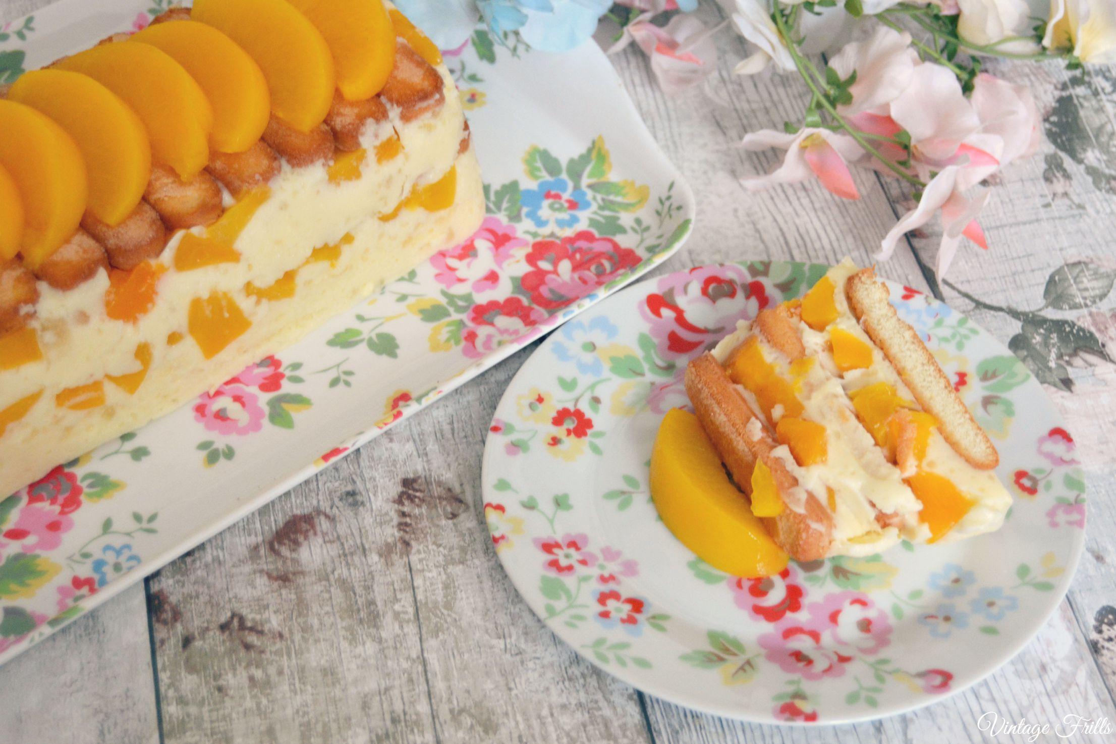 1960s Marshmallow and Peach Refrigerator Dessert Recipe Vintage Frills