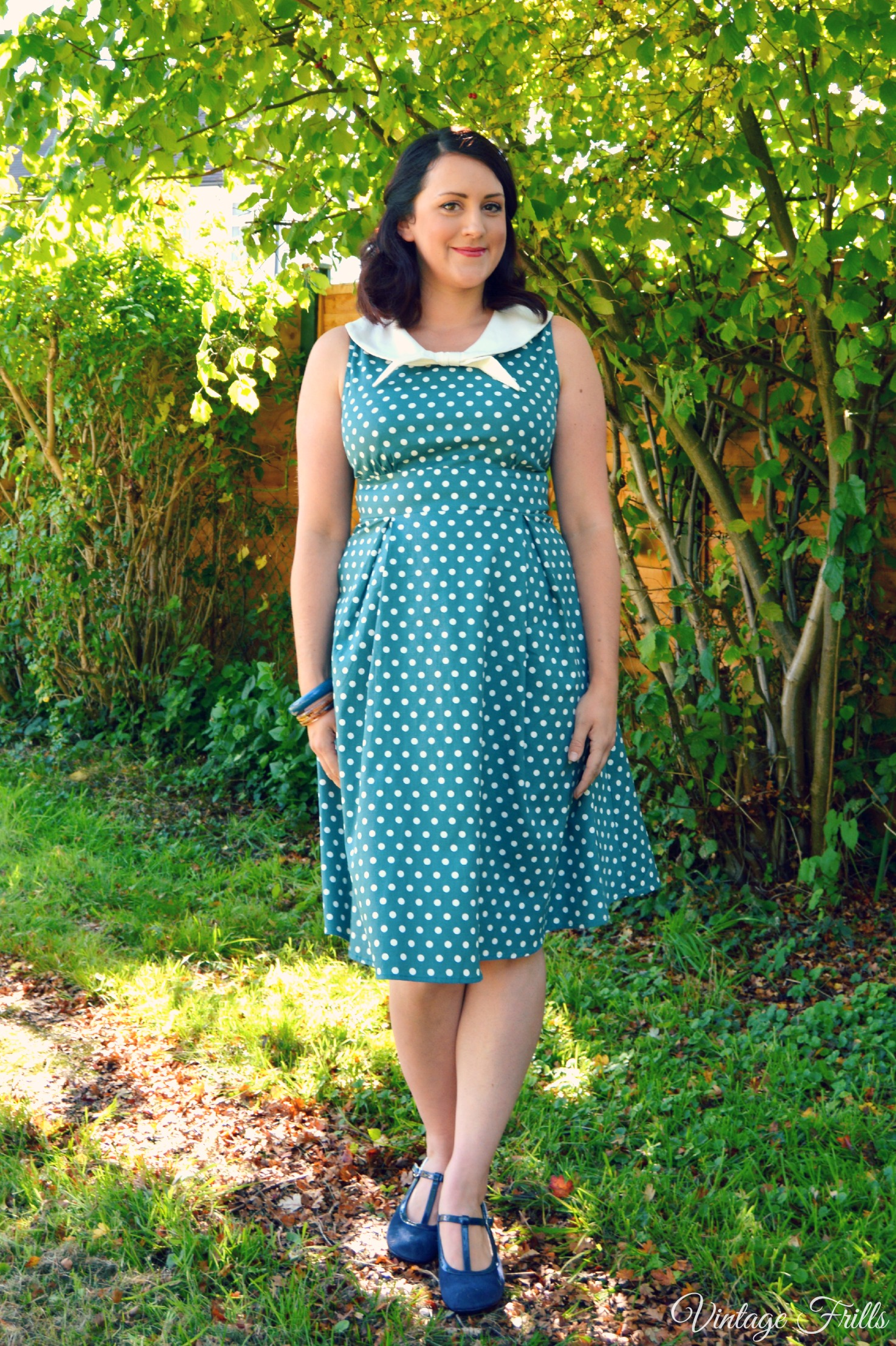 Dolly and Dotty Sally Polka Dot Teal Dress Vintage Frills