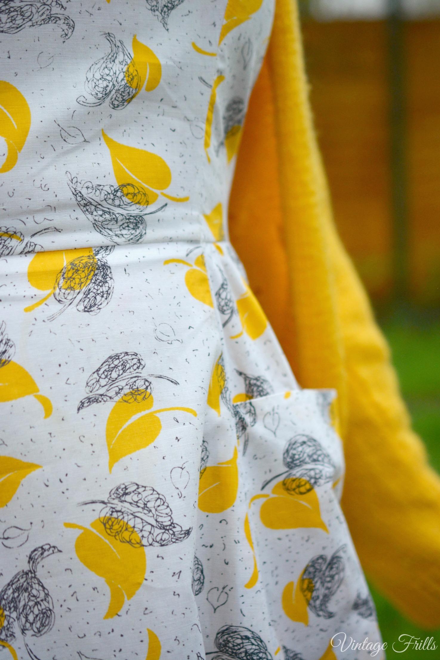 1950s Mustard Dress Close Up