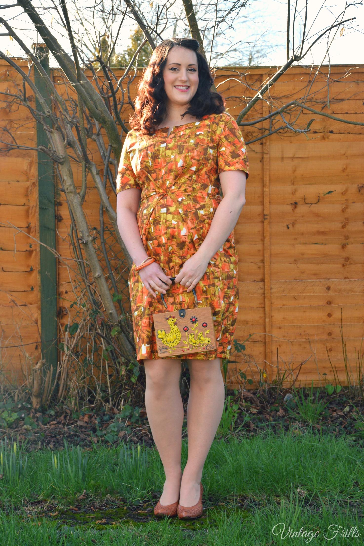 Orange 1960s Wiggle Dress