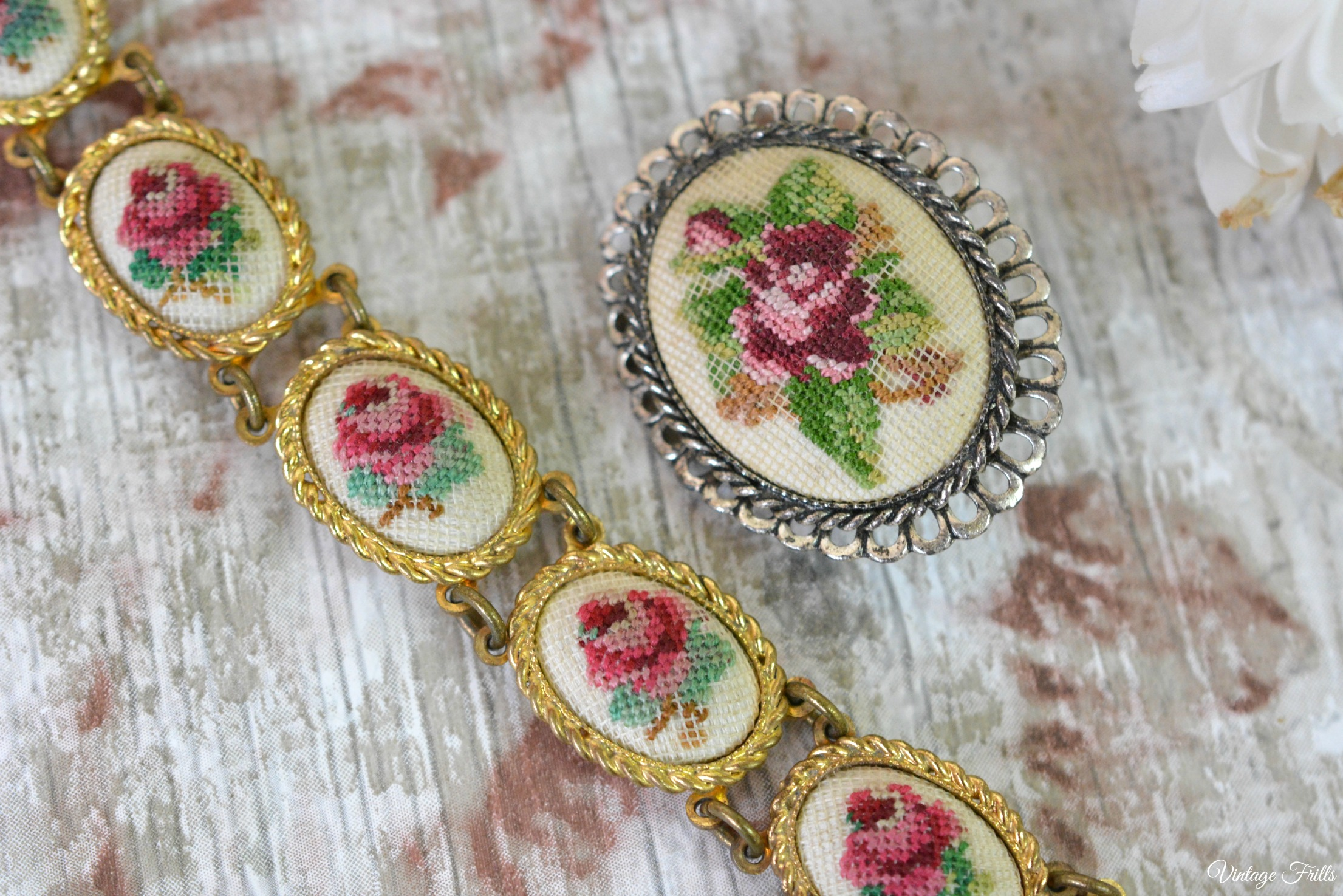 Vintage Petit Point Bracelet and Brooch