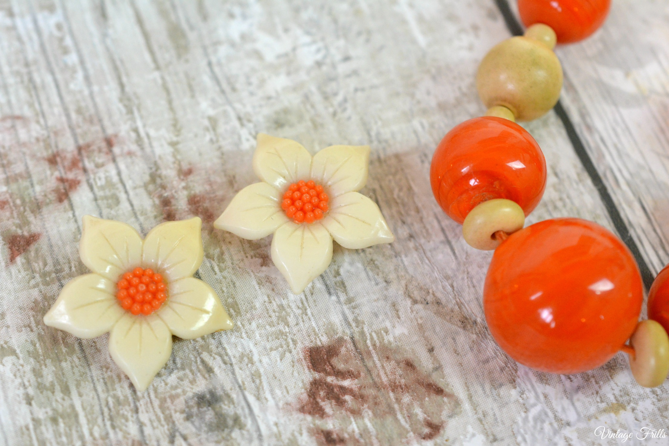 Vintage Plastic Clip on Earrings