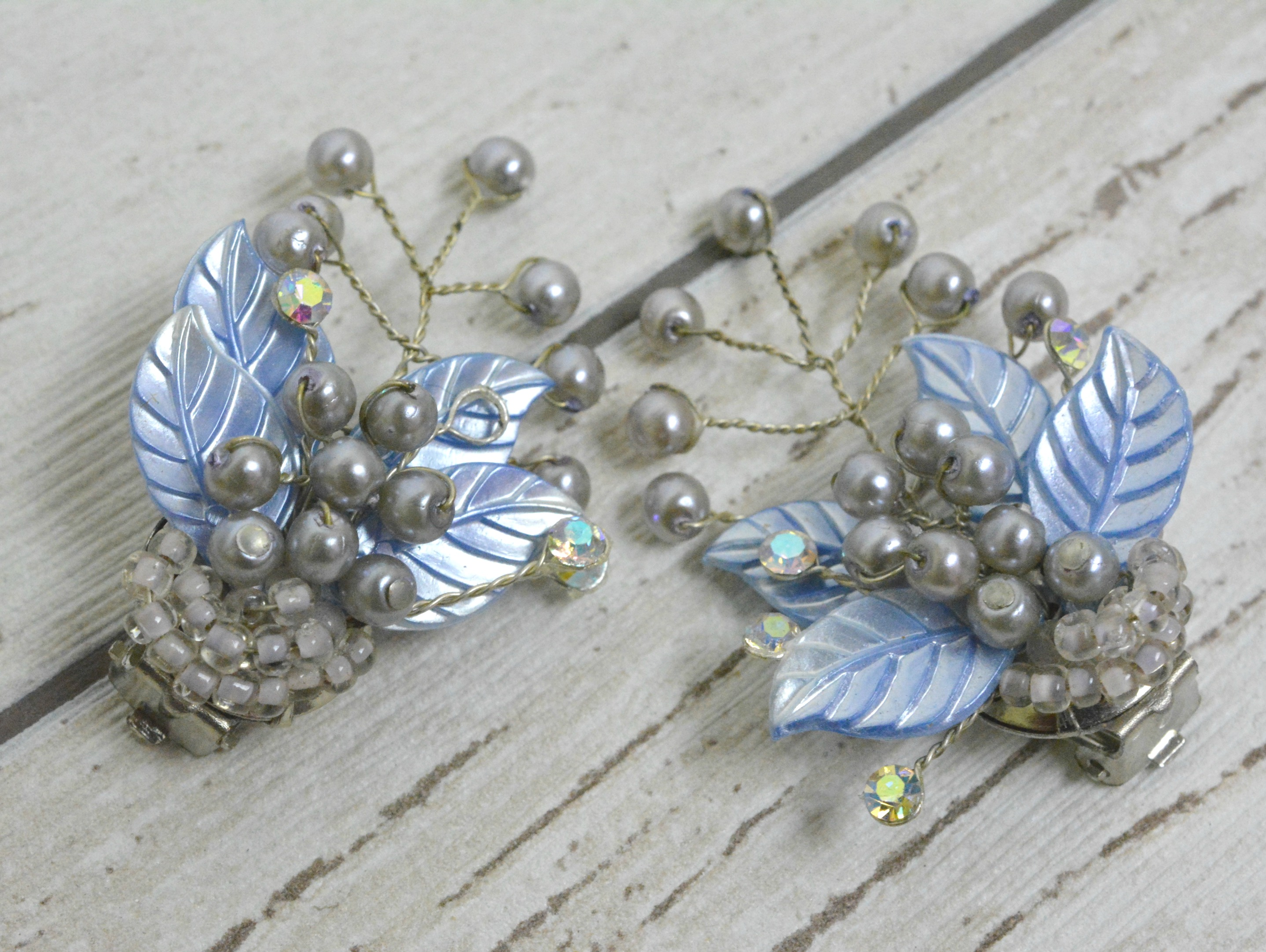 Beaded Leaf Earrings off card