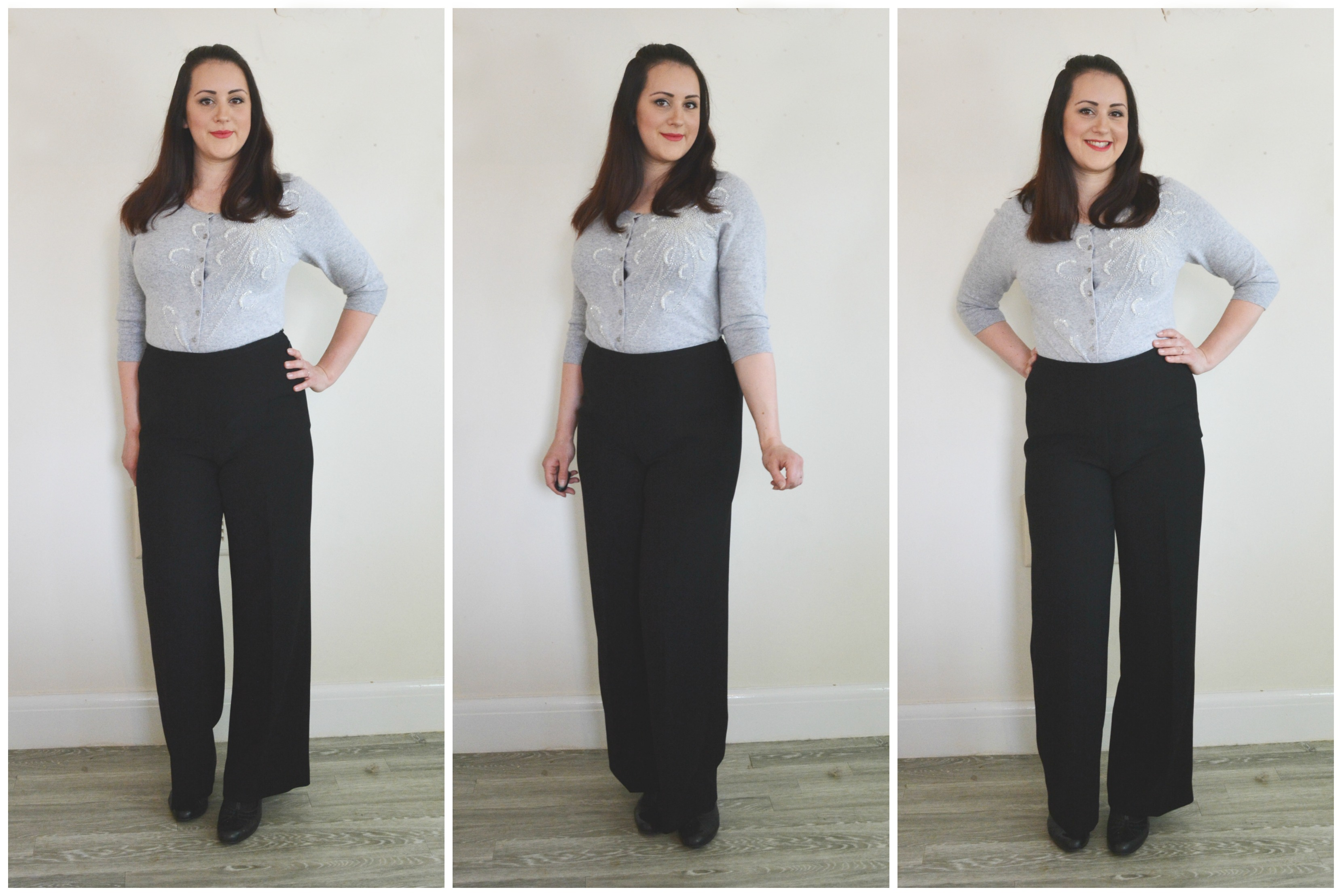 Charity Shop Black Trousers Grey Cardi