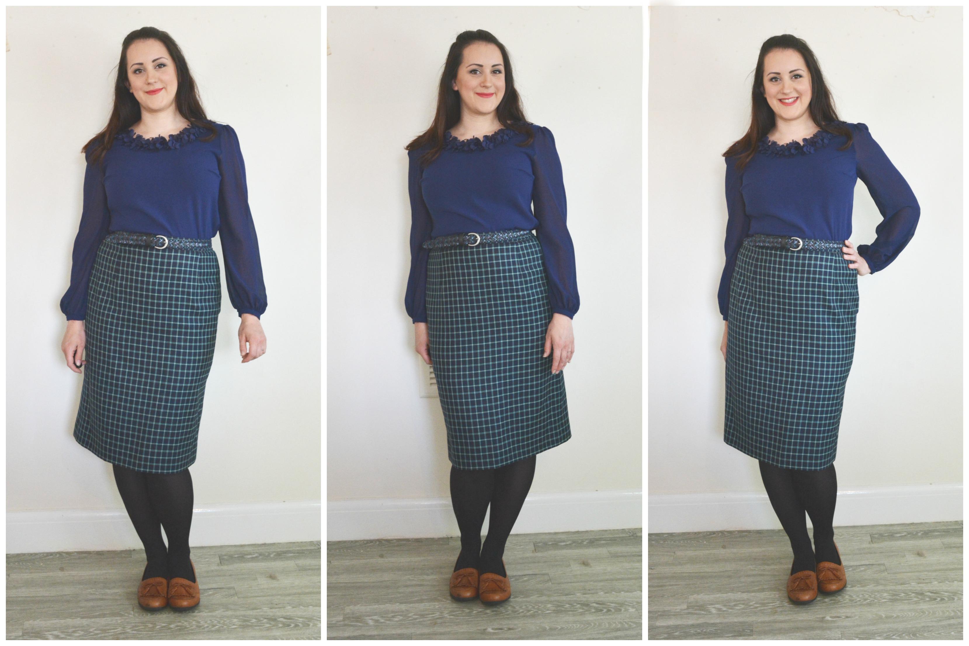 Charity Shop Blue Mini Dress with tartan Pencil Skirt