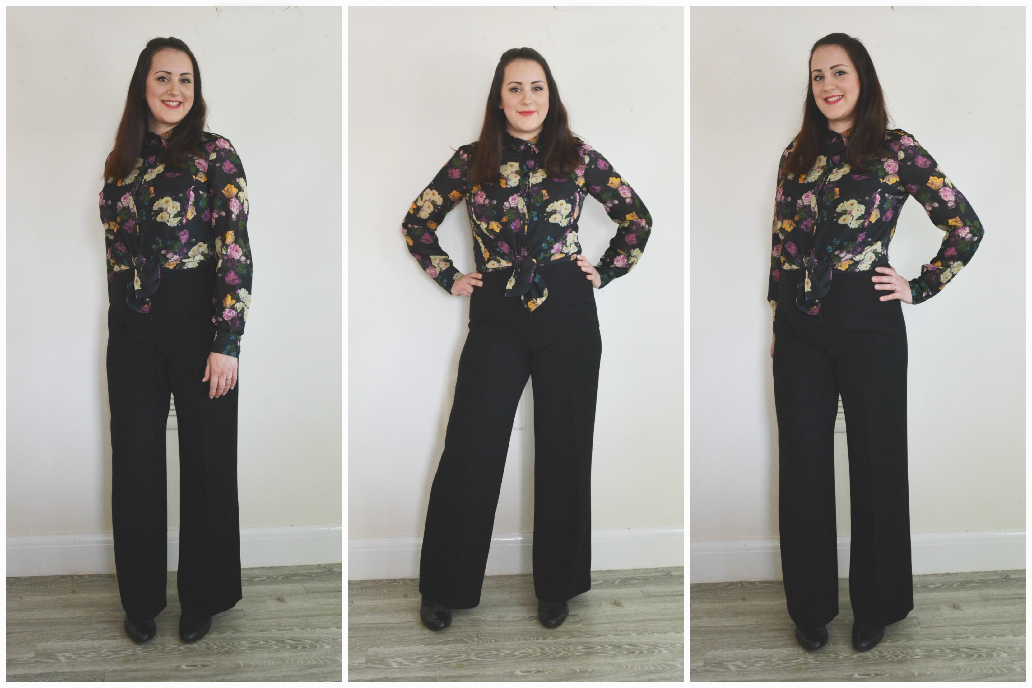 Charity Shop Floral Blouse and Trousers