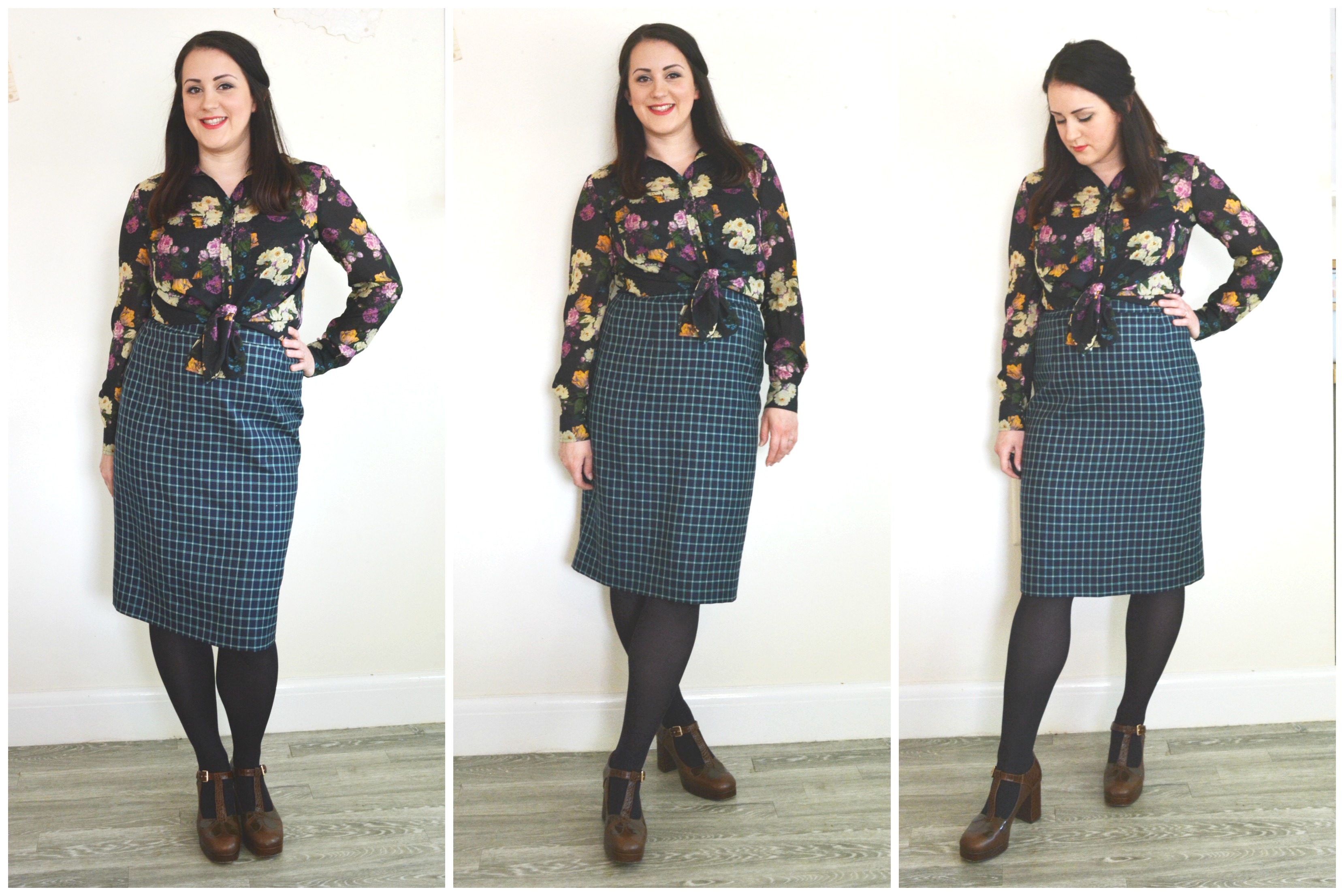 Charity Shop Pencil skirt and Floral Blouse