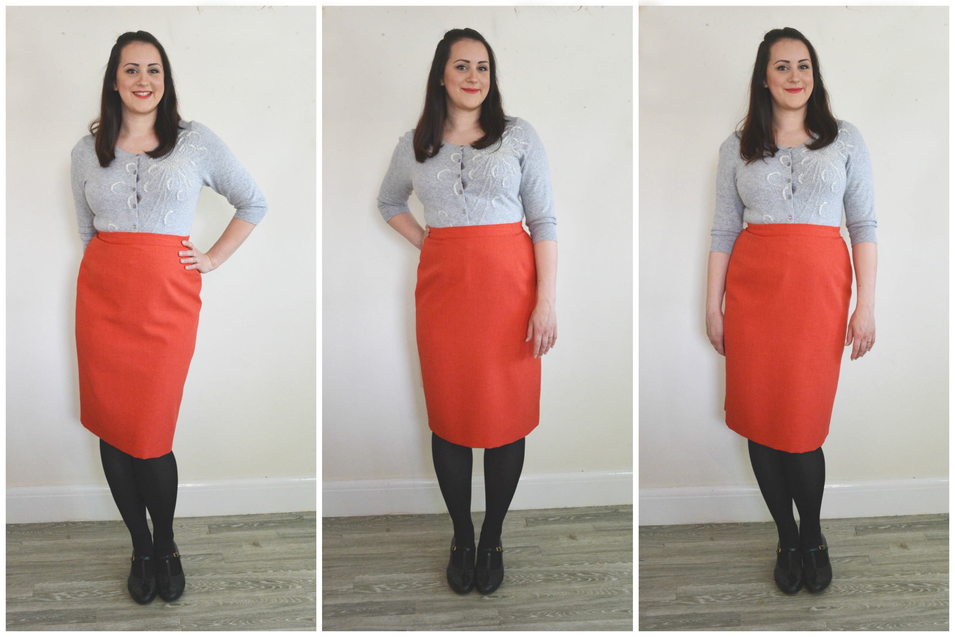 Charity Shop Red Pencil Skirt Grey Cardi