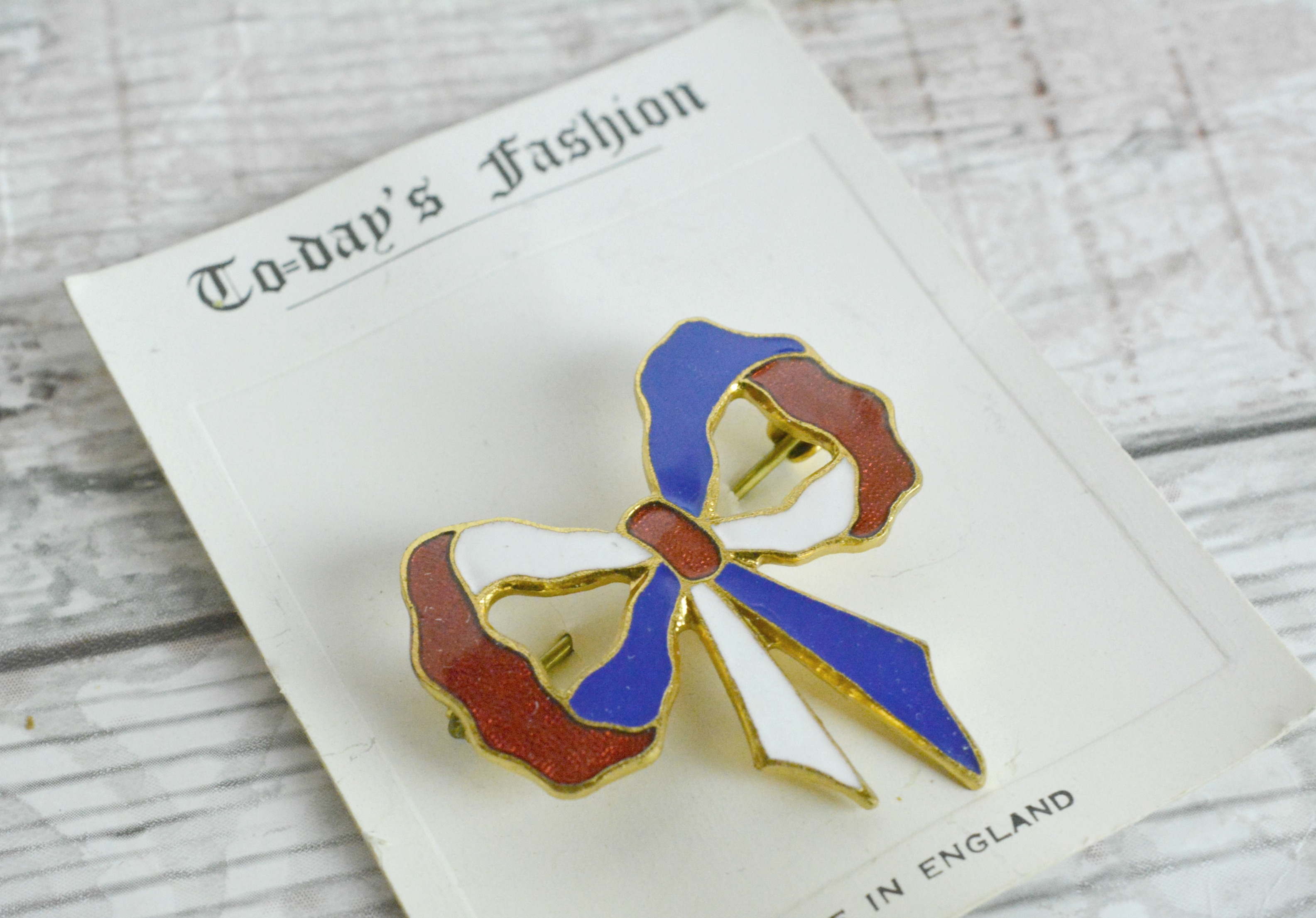 Enamel Bow Brooch On Card