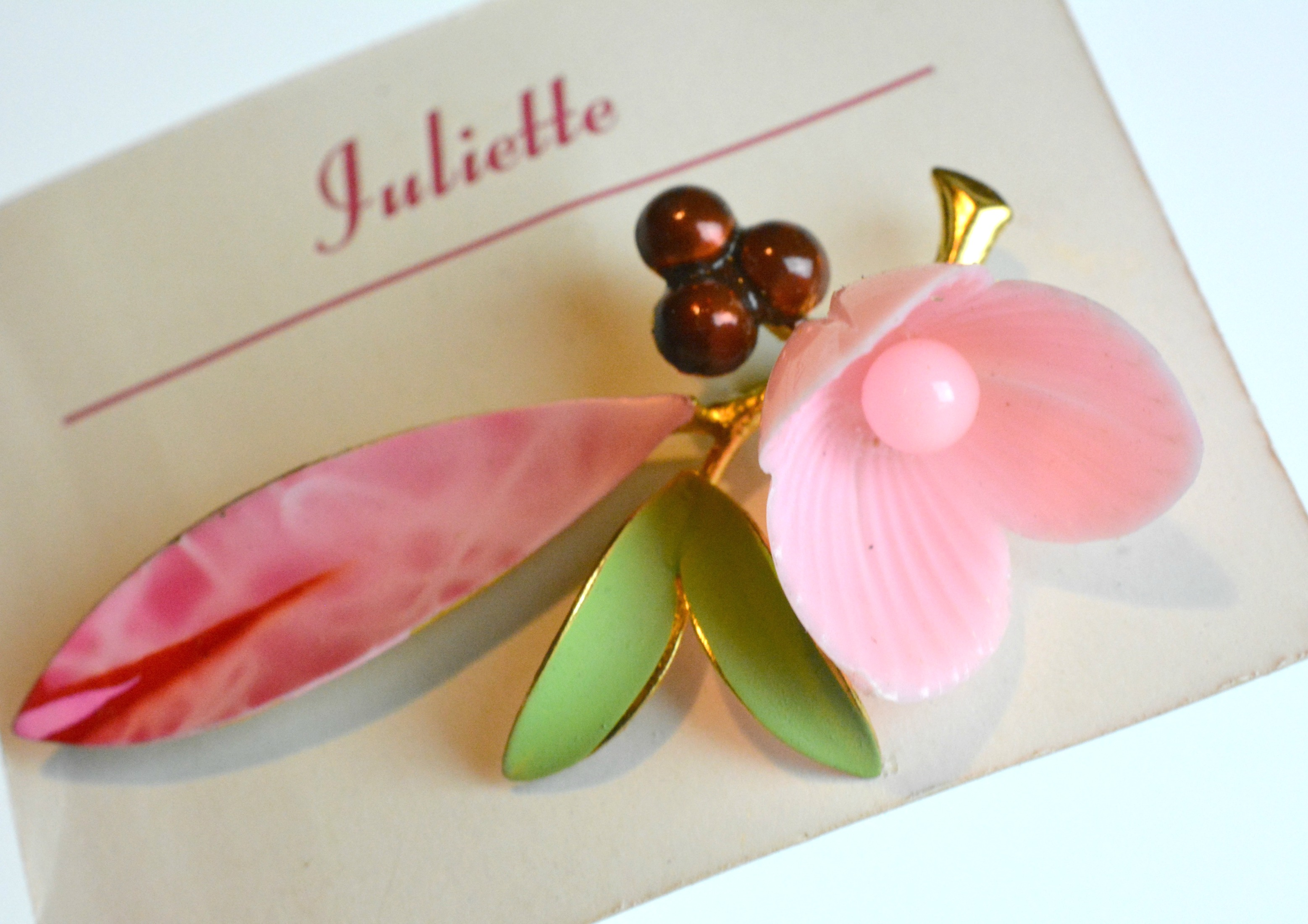 Enamel Flower Brooch On Card