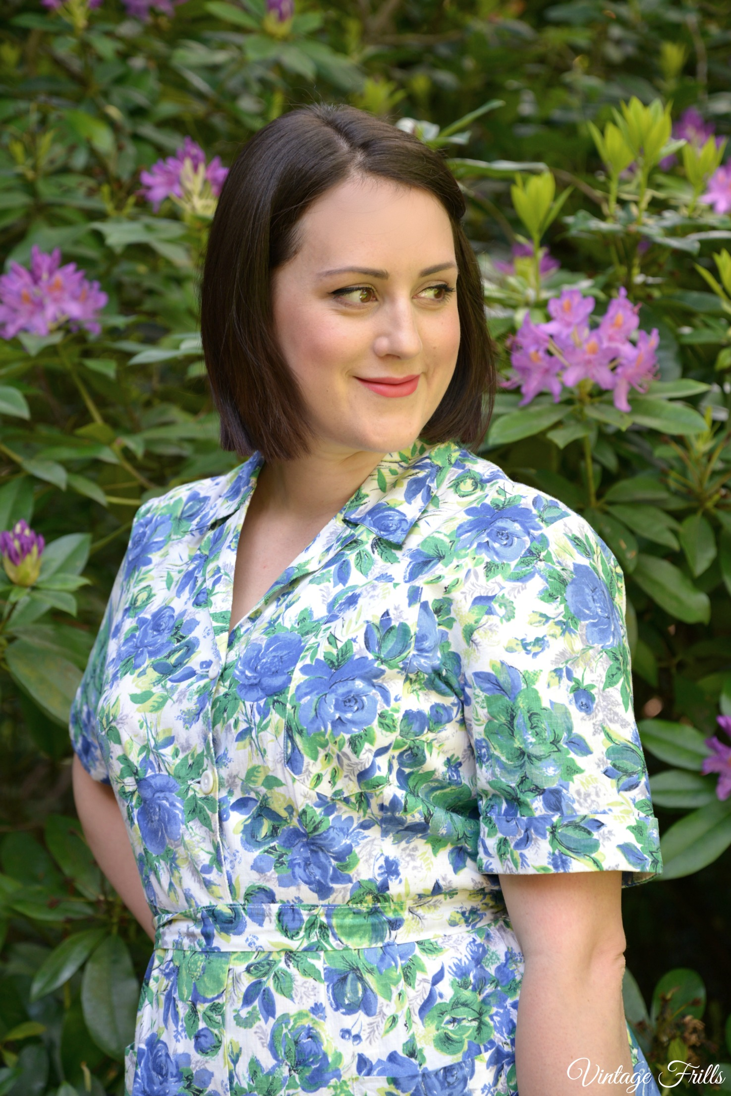 Rose Print 1950s Blue Shirtwaister Dress
