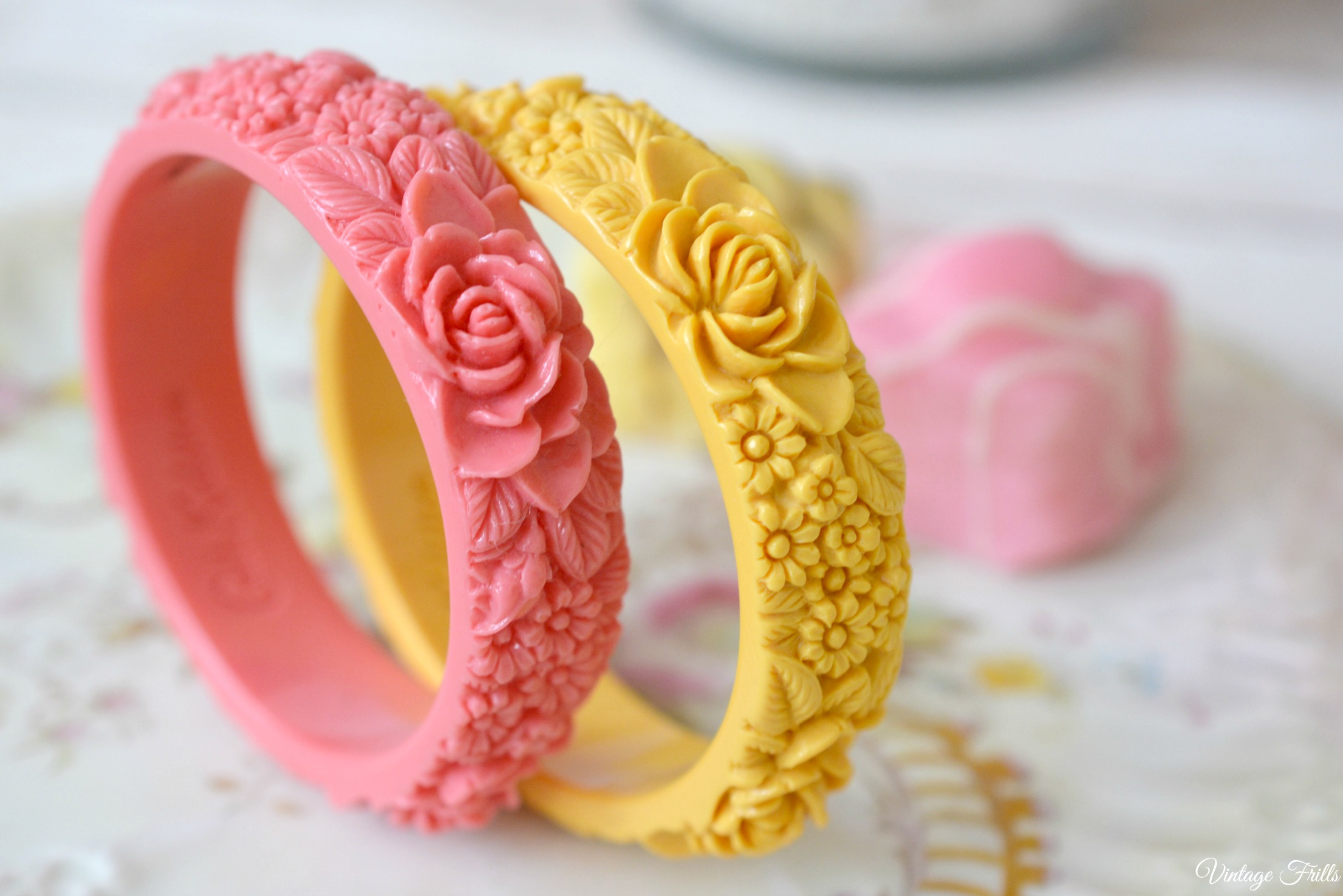 Cath Kinston Yellow and Pink Moulded Bangles