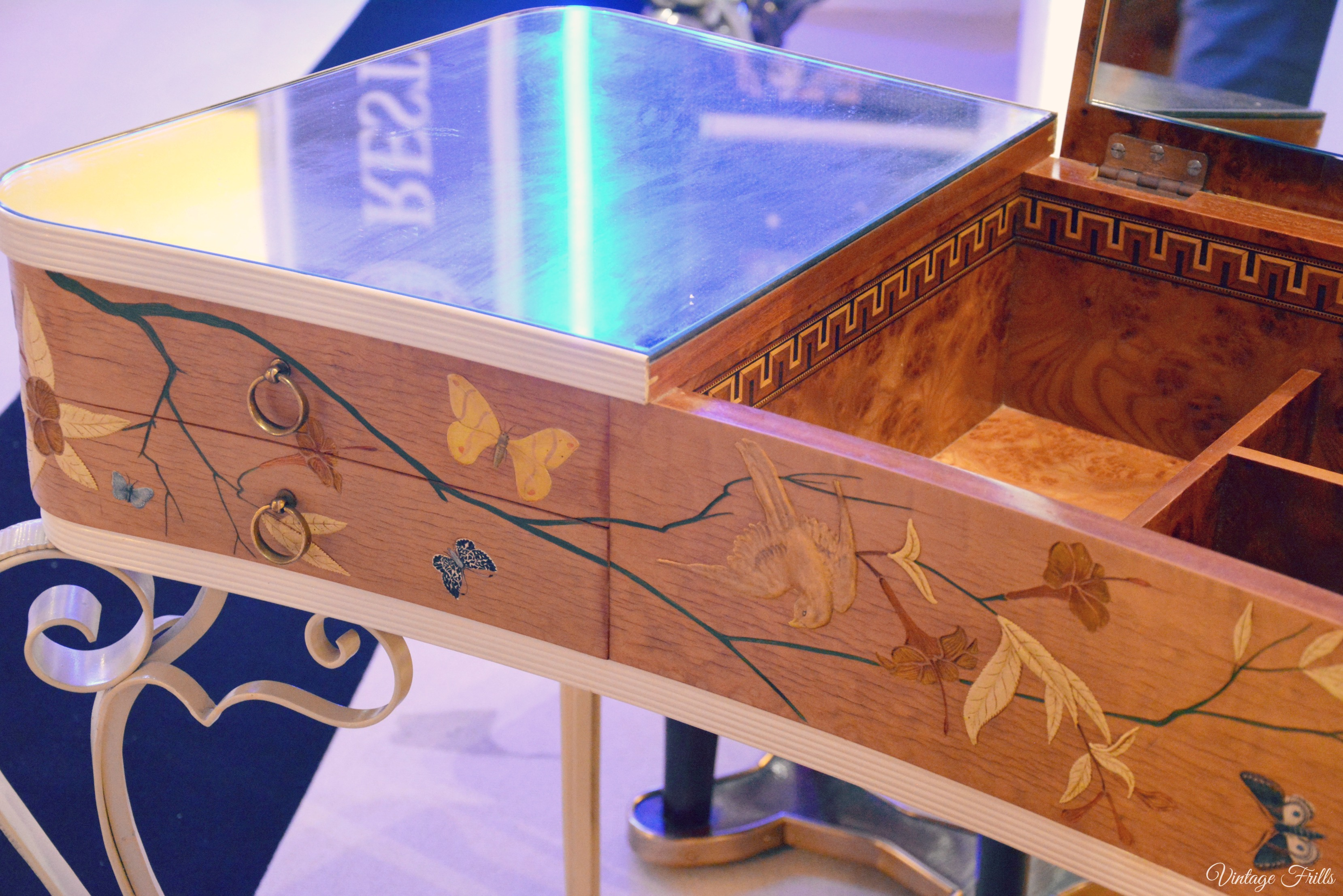 Olympia Art and Antiques Art Deco Inlaid Wooden Desk