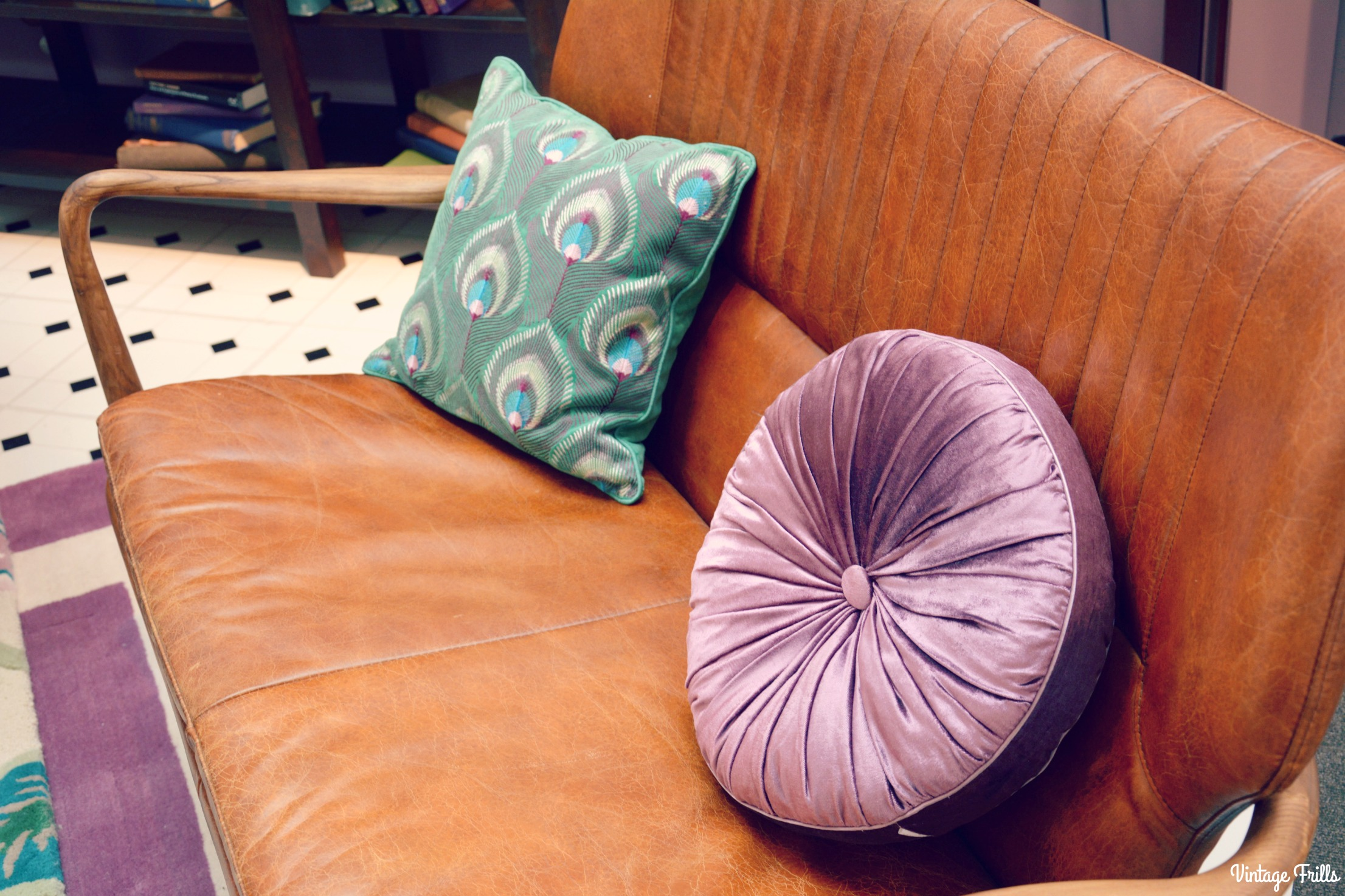 Laura Ashley Leather Sofa and Cushions