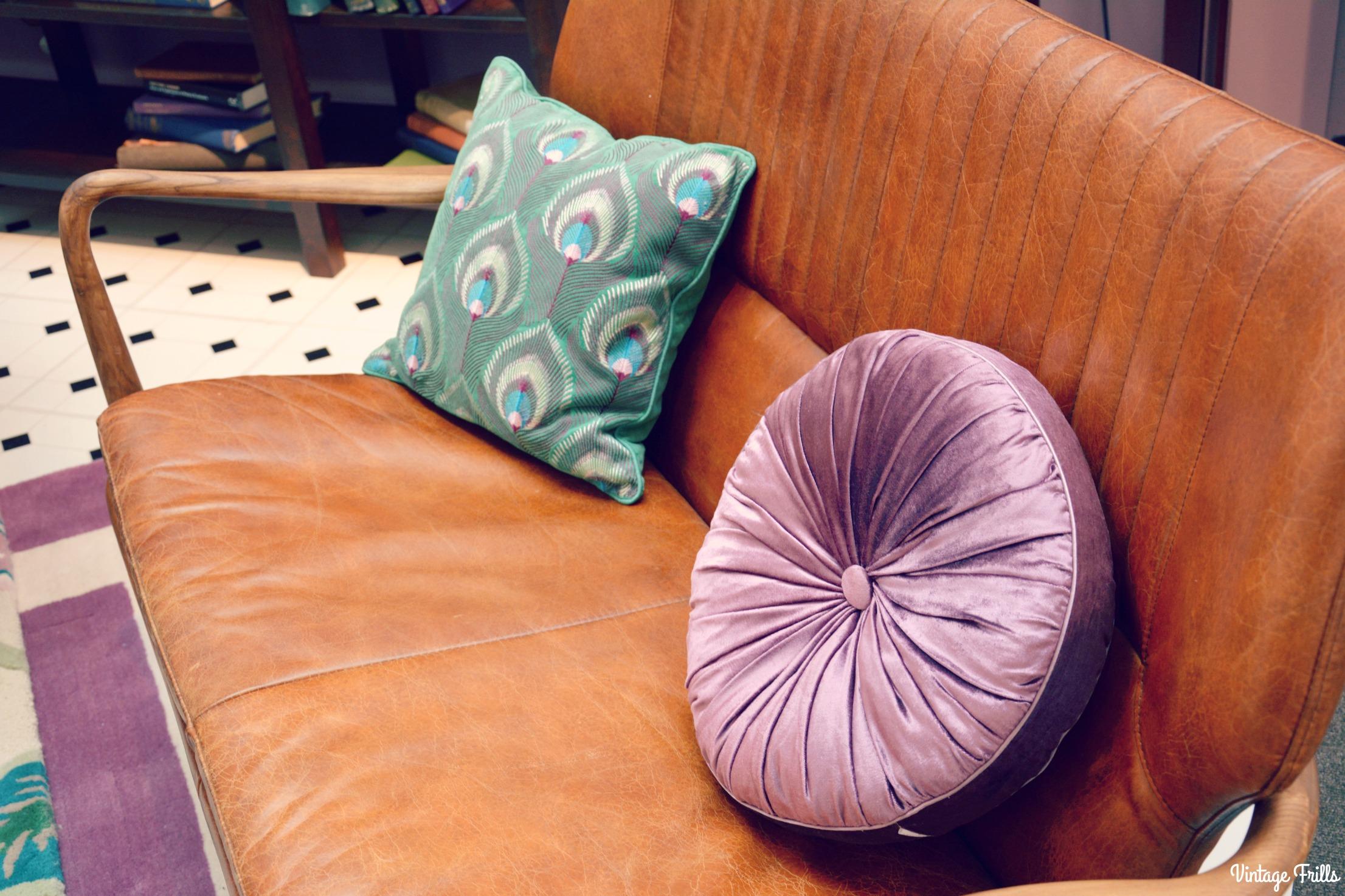 Laura Ashley Leather Sofa and Cushions