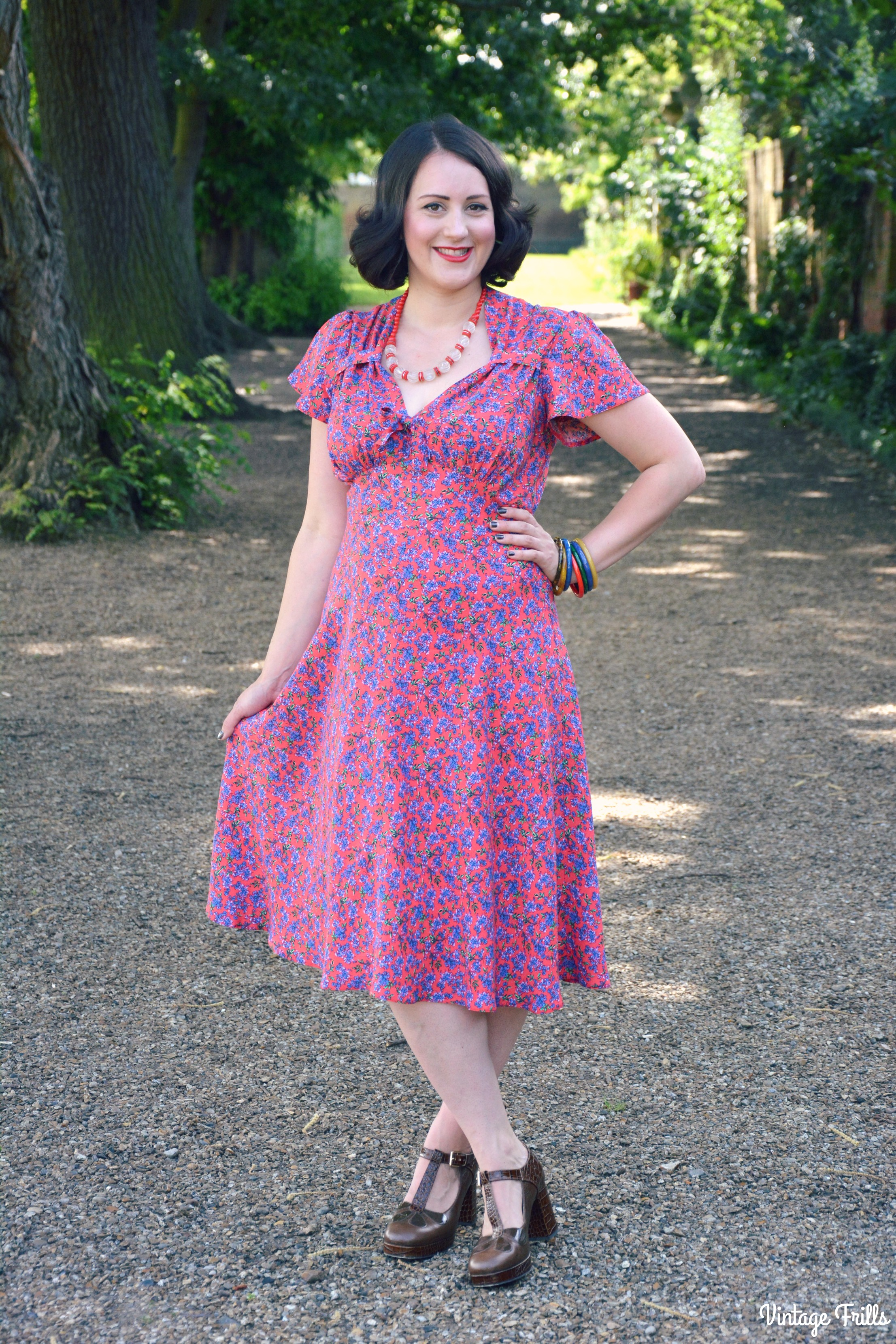 Red Ditsy 1940s Tea Dress Pretty Retro