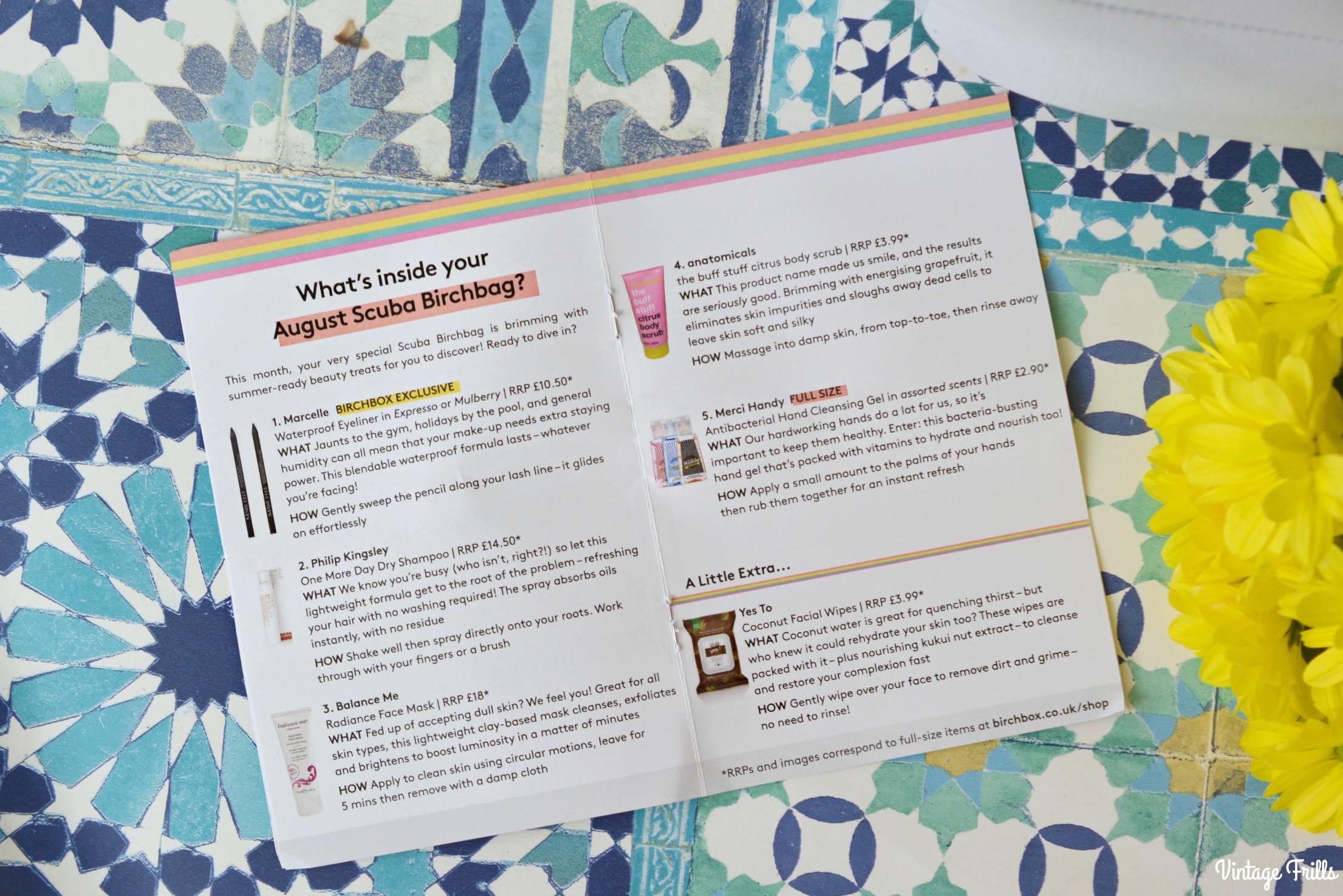 August Birchbox Contents