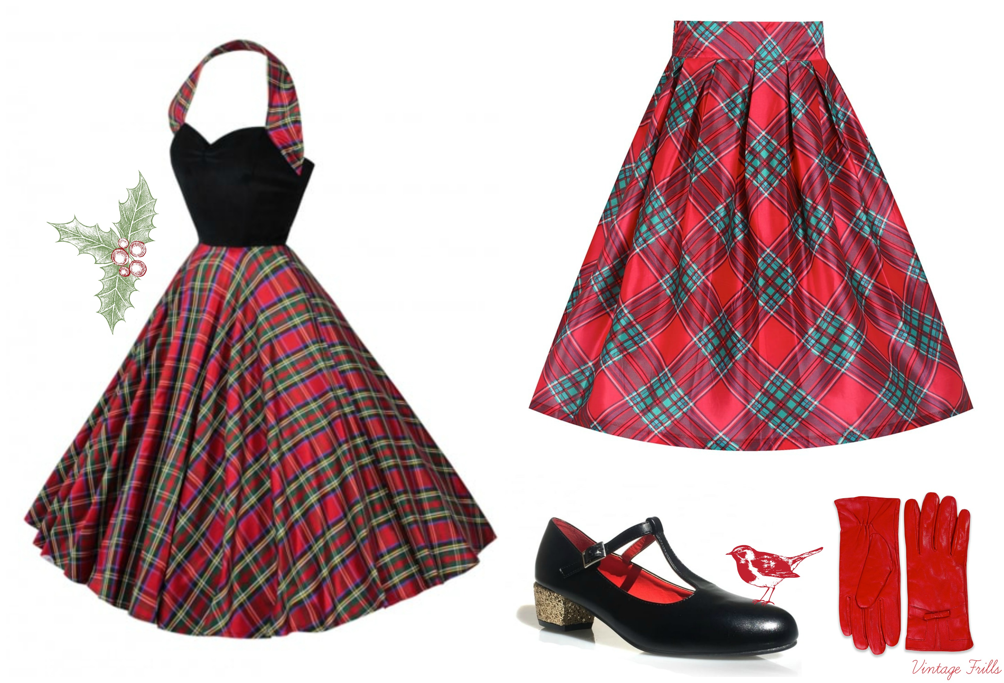 red-tartan-vintage-style-outfits