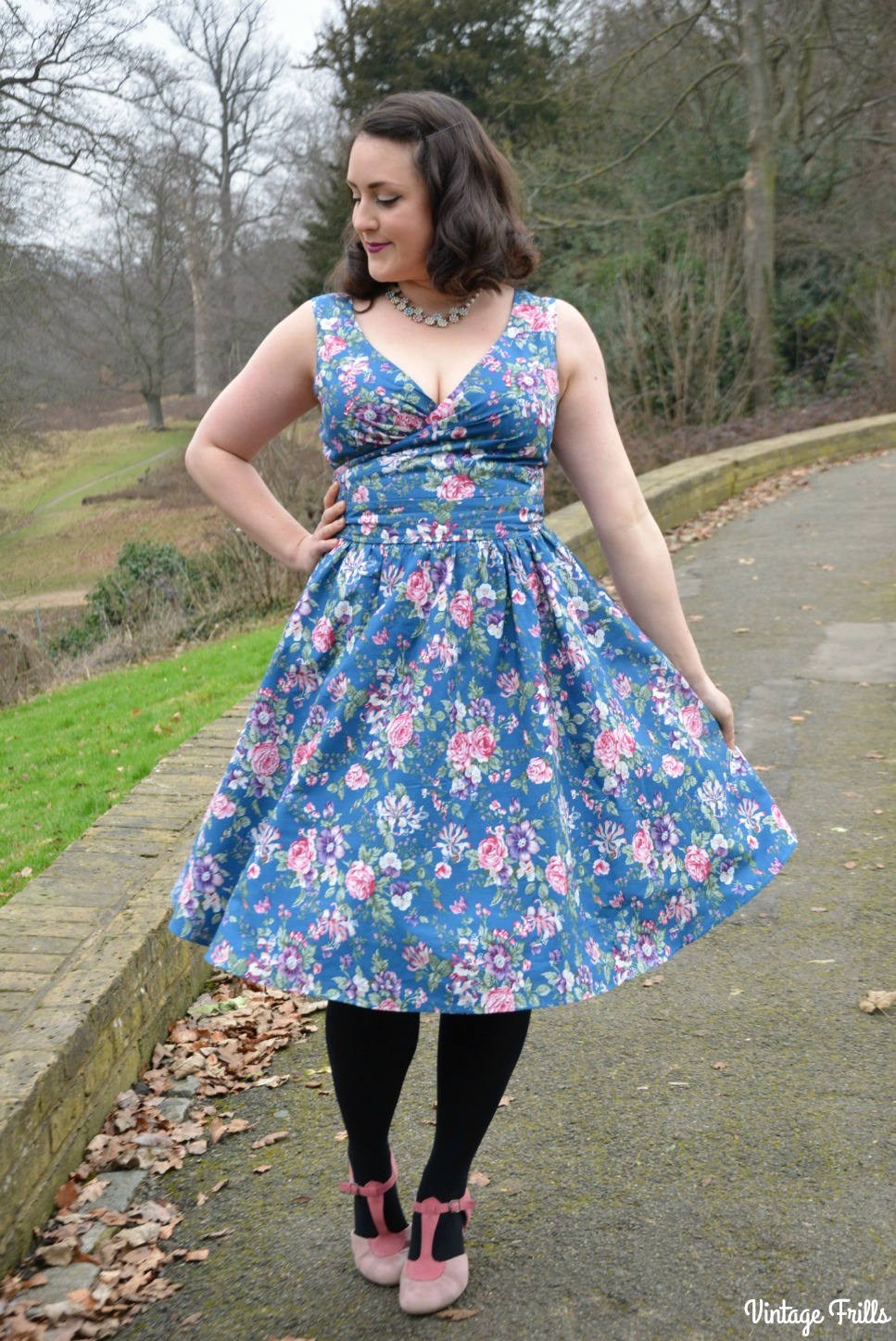 May Swing Dress in Blue from Dolly and Dotty