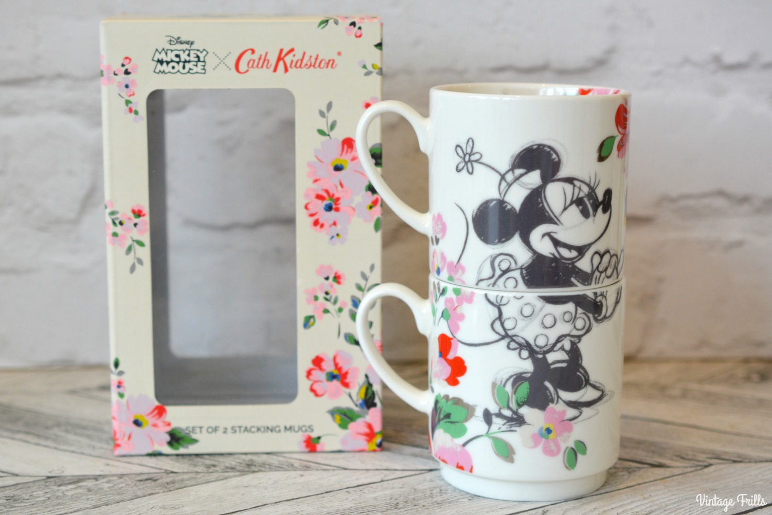 Disney Cath Kidston Minnie and Mickey Stackable Mugs
