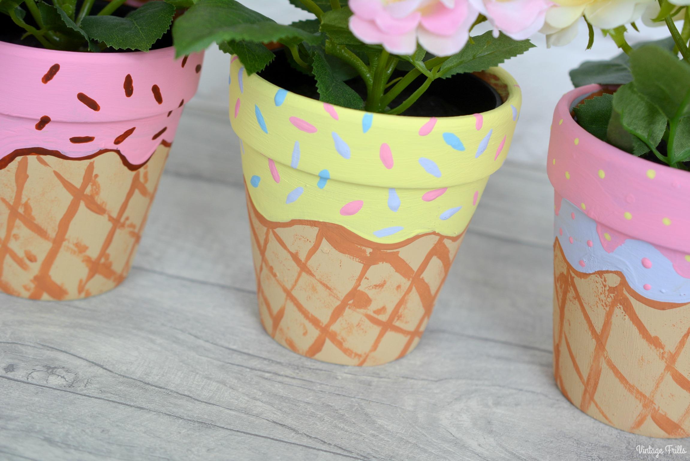 Ice Cream Theme | Painted Ice Cream Plant Pots